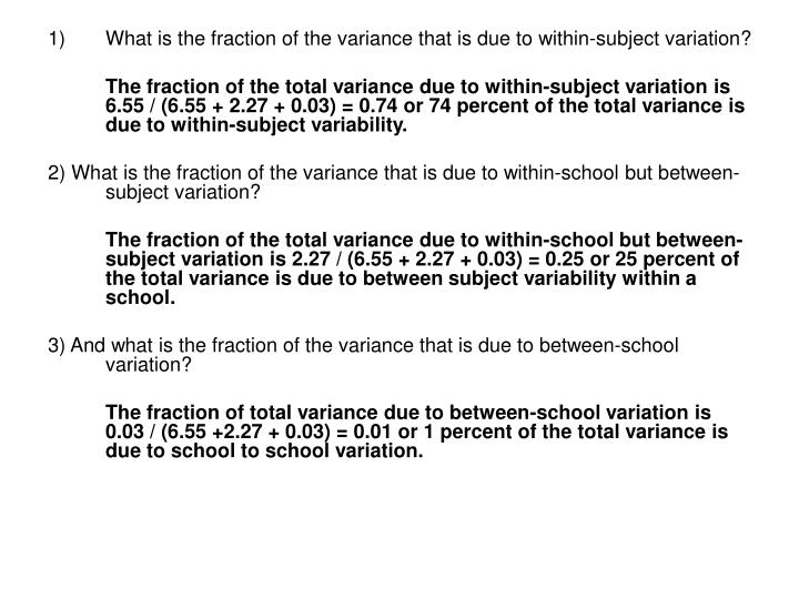 What is the fraction of the variance that is due to within-subject variation?