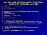 2008 red river basin fish health monitoring summary of sampling june 8th 20th
