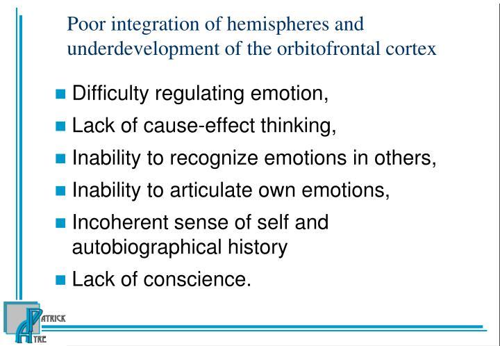 Poor integration of hemispheres and underdevelopment of the orbitofrontal cortex