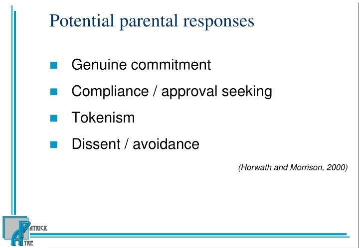 Potential parental responses