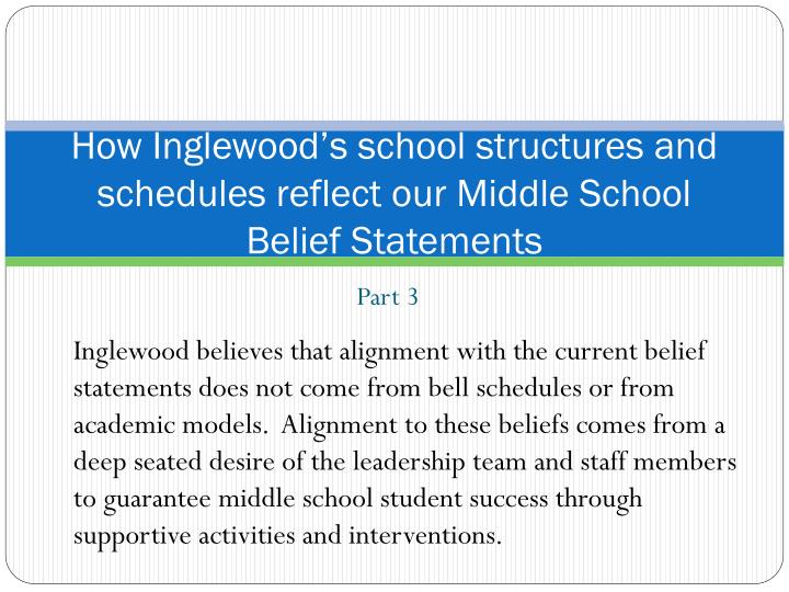 How Inglewood's school structures and schedules reflect our Middle School Belief Statements