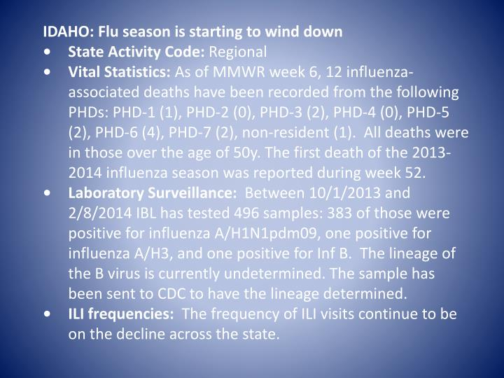 IDAHO: Flu season is starting to wind down