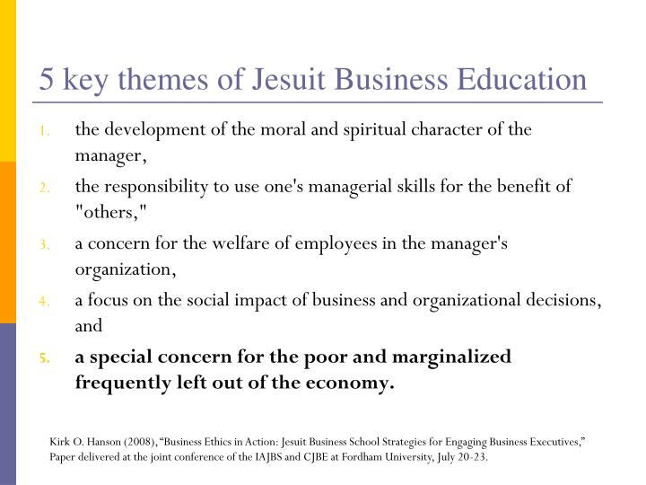 5 key themes of Jesuit Business Education