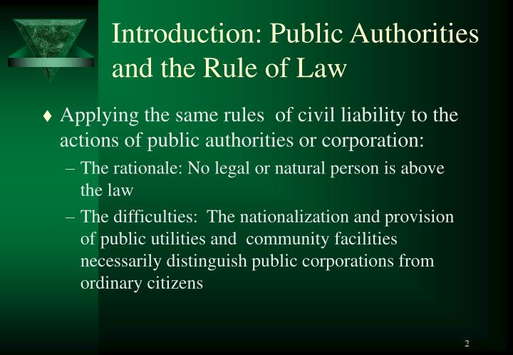 Introduction public authorities and the rule of law