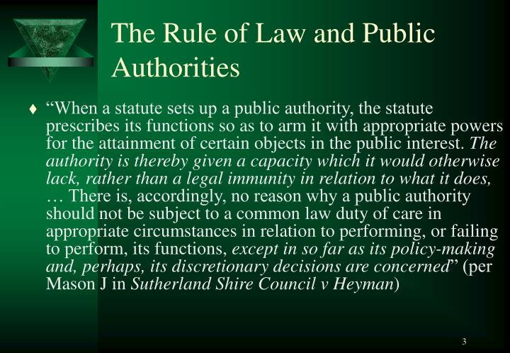 The rule of law and public authorities