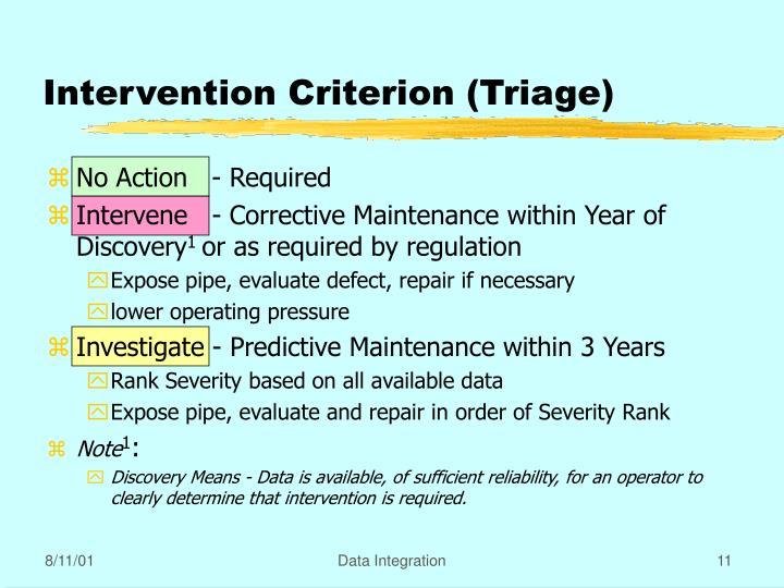 Intervention Criterion (Triage)