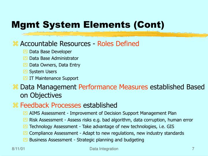 Mgmt System Elements (Cont)