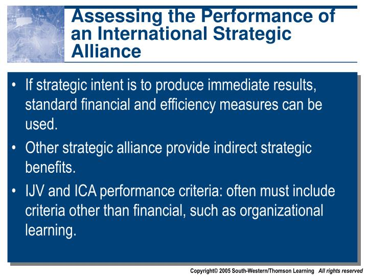 Assessing the Performance of an International Strategic Alliance