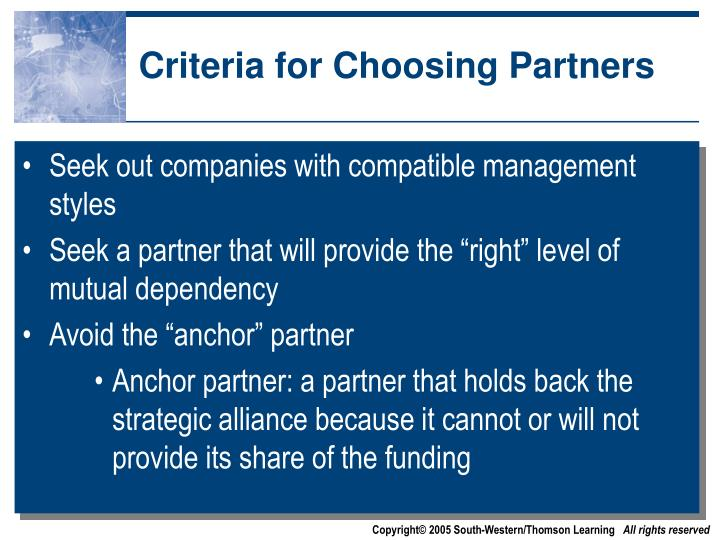 Criteria for Choosing Partners