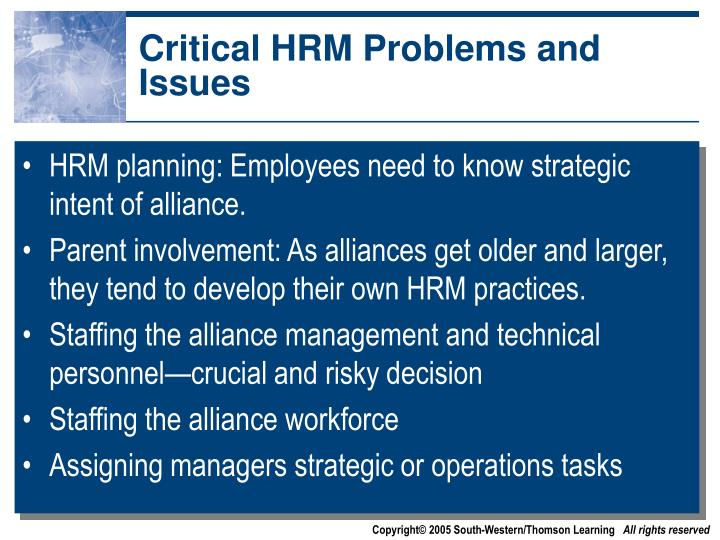 Critical HRM Problems and Issues