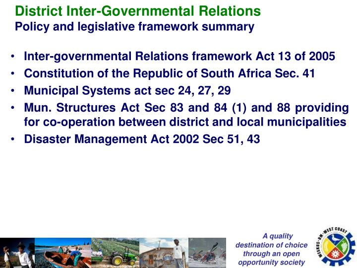 District Inter-Governmental Relations