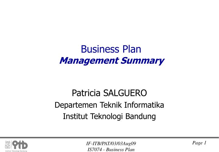 business plan management summary n.