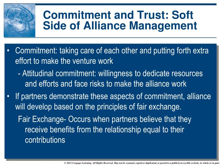 Commitment and Trust: Soft Side of Alliance Management