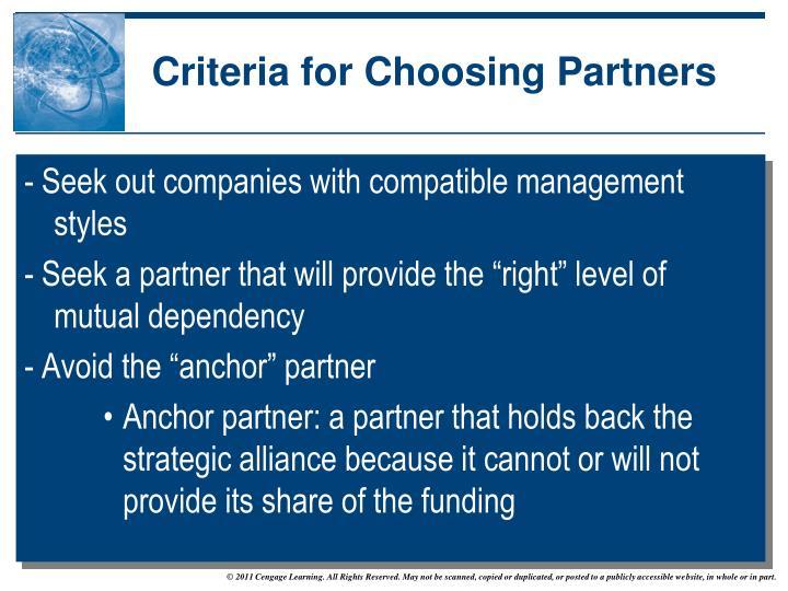 Criteria for Choosing Partners