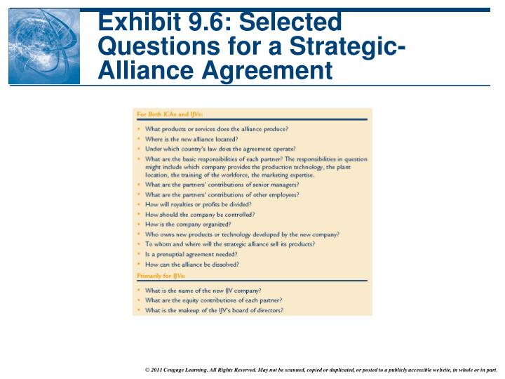 Exhibit 9.6: Selected Questions for a Strategic-Alliance Agreement