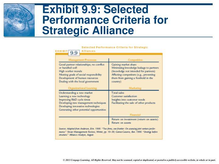 Exhibit 9.9: Selected Performance Criteria for Strategic Alliance