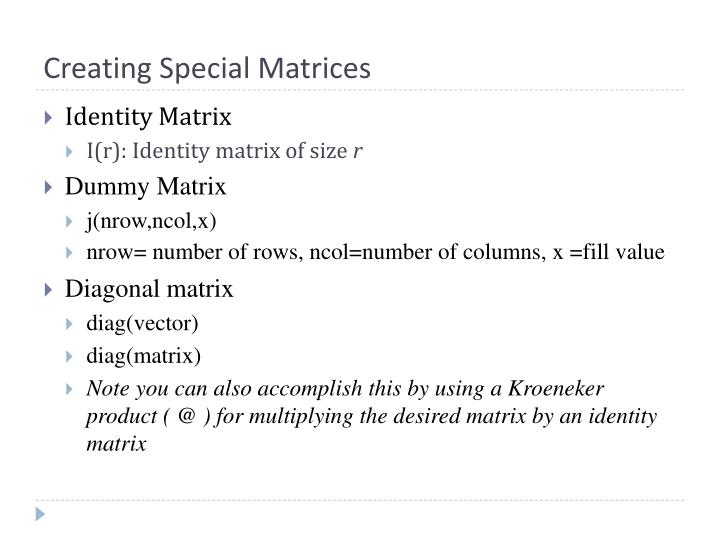 Creating Special Matrices