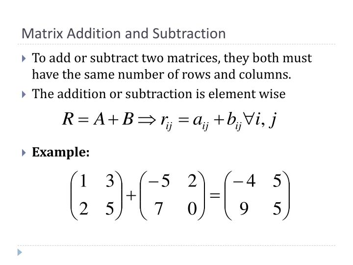 Matrix Addition and Subtraction