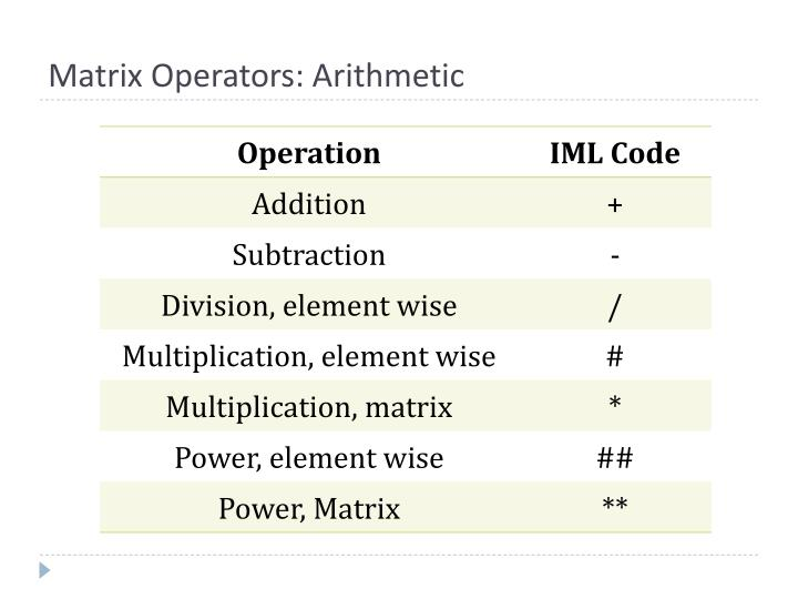 Matrix Operators: Arithmetic