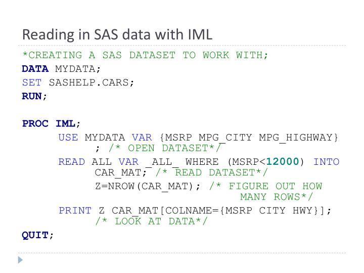 Reading in SAS data with IML