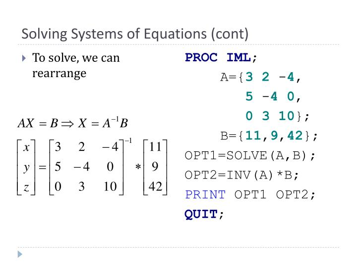Solving Systems of Equations (cont)