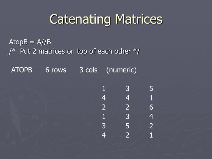 Catenating Matrices