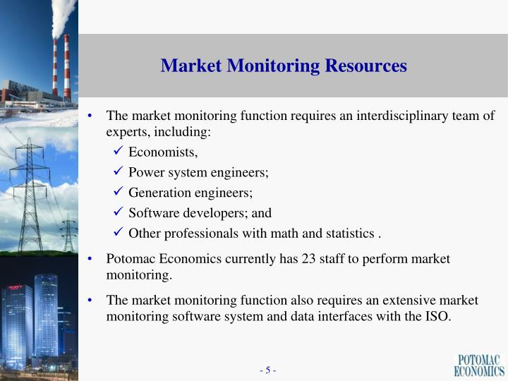 The market monitoring function requires an interdisciplinary team of experts, including: