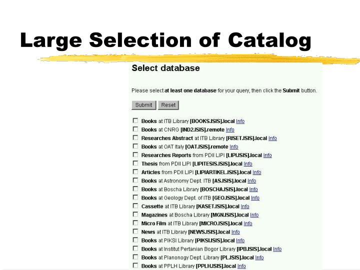 Large Selection of Catalog