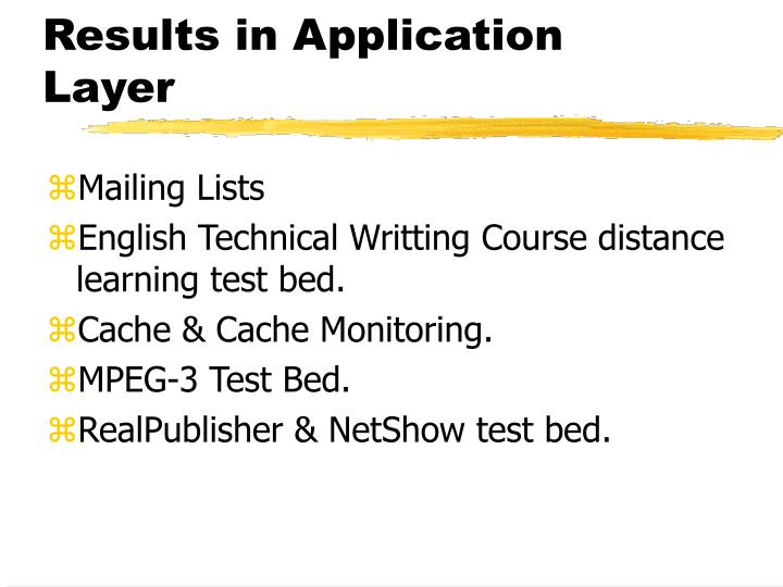 Results in Application Layer