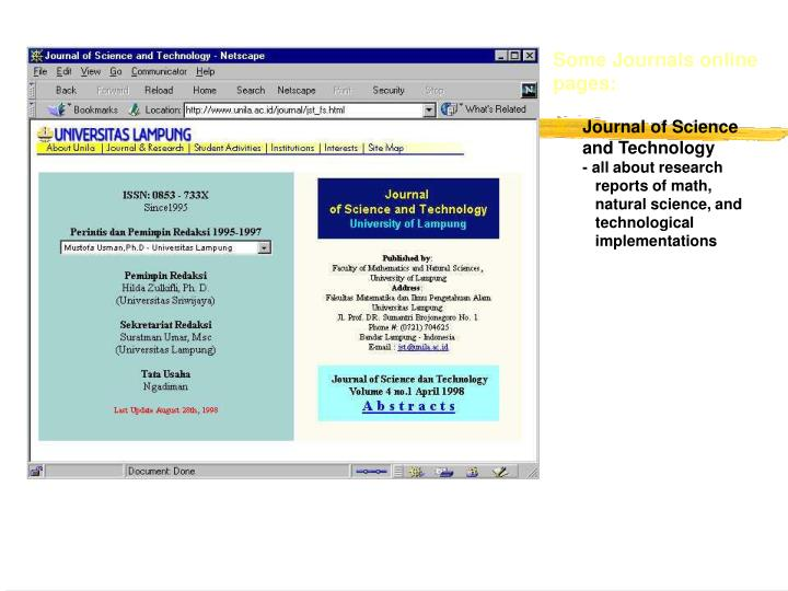 Some Journals online pages: