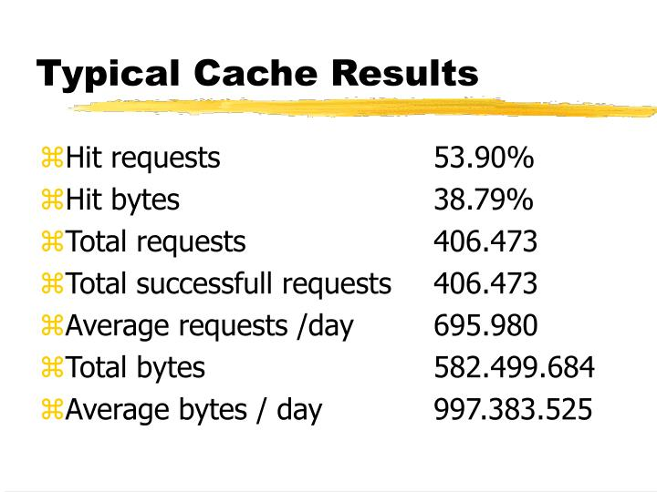 Typical Cache Results