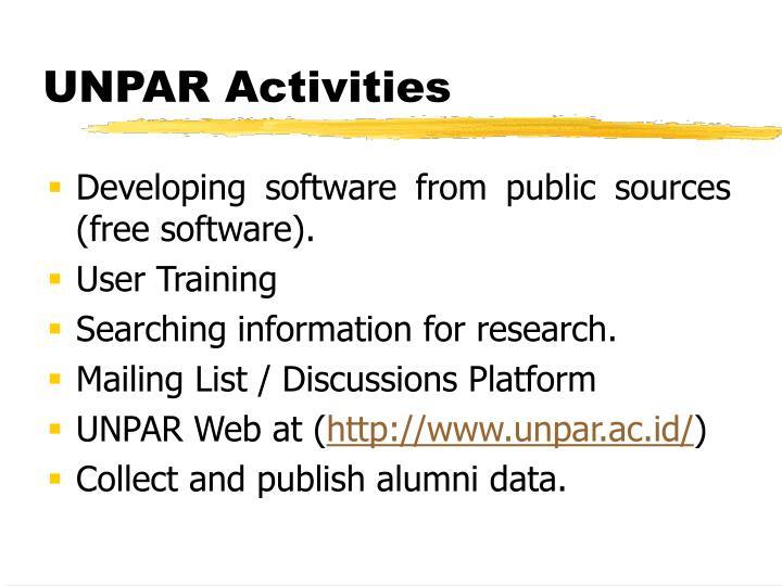UNPAR Activities