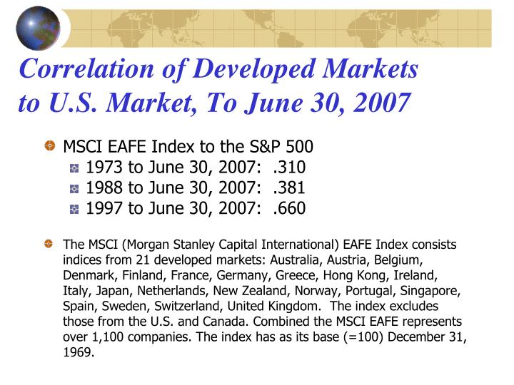 Correlation of Developed Markets to U.S. Market, To June 30, 2007
