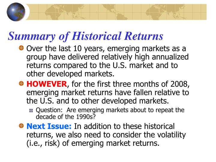 Summary of Historical Returns