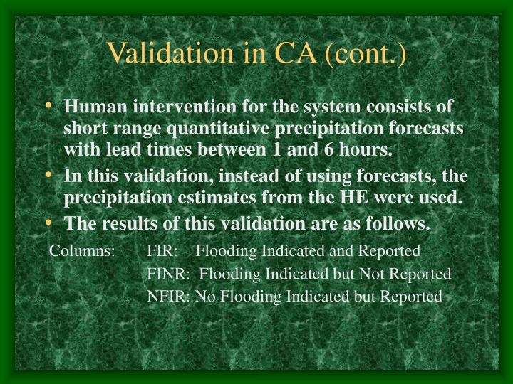 Validation in ca cont