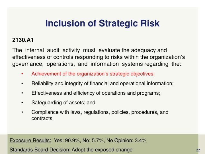 Inclusion of Strategic Risk