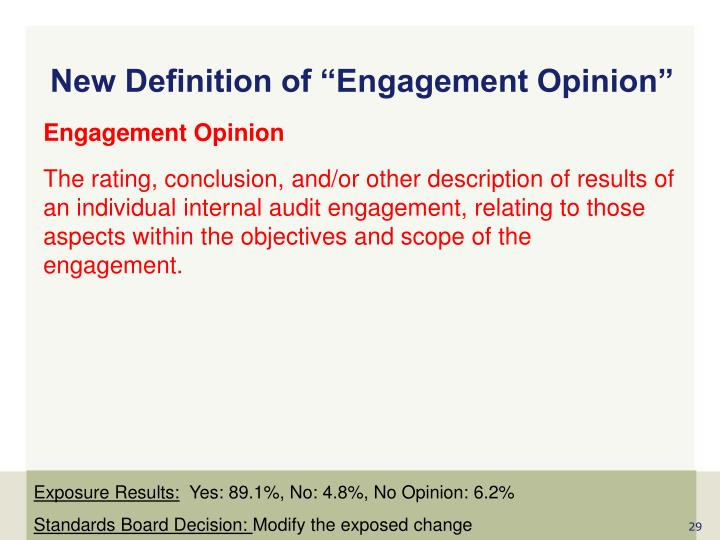 """New Definition of """"Engagement Opinion"""""""