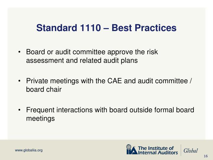 Standard 1110 – Best Practices