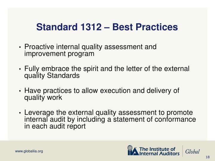 Standard 1312 – Best Practices