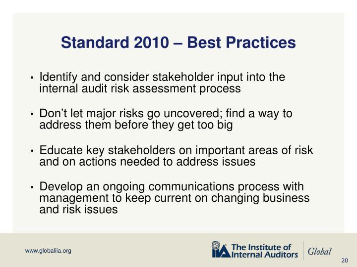 Standard 2010 – Best Practices
