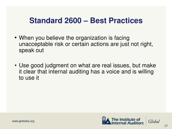 Standard 2600 – Best Practices
