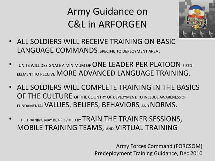 Army Guidance on