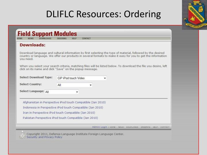 DLIFLC Resources: Ordering