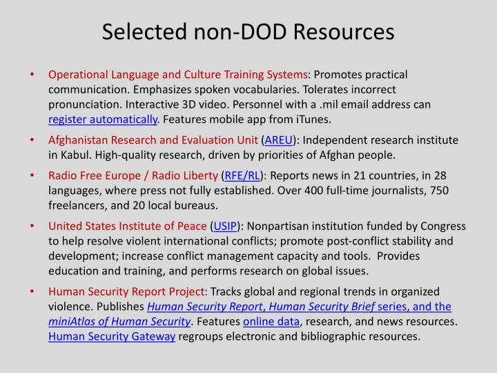 Selected non-DOD