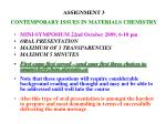 assignment 3 contemporary issues in materials chemistry