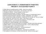 assignment 5 independent written project suggested topics2