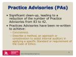 practice advisories pas