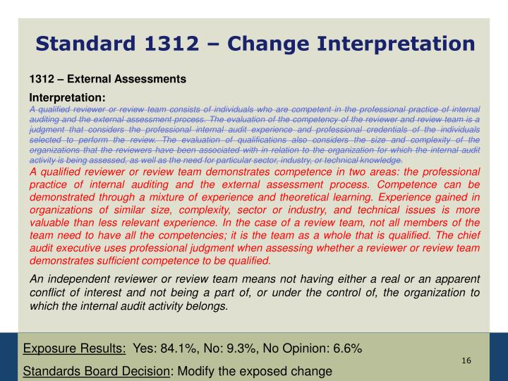 Standard 1312 – Change Interpretation