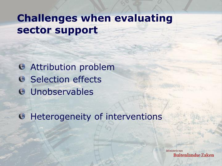 Challenges when evaluating sector support