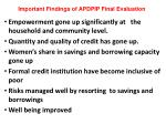important findings of apdpip final evaluation